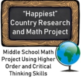 """""""Happiest"""" Country Social Studies Research and Math Project for Middle School"""