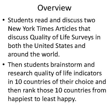"""Happiest"" Country Social Studies Research and Math Project for Middle School"