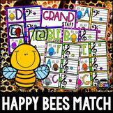 """""""Happy Bees"""" Music Notes Matching Flashcard Fun!  Treble and Bass Clefs"""