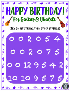 Happy Birthday Song - Poster & Handout for Guitar & Ukulele!