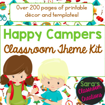 """""""Happy Campers""""  Camping Classroom Theme Decor Kit- EDITABLE"""