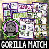 """""""Happy Gorillas"""" Music Notes Matching Flashcard Fun!  Treble and Bass Clefs"""