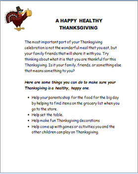 "Thanksgiving-""Build a Thanksgiving plate Activity with safety tips"