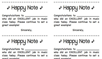 """Happy Note"" Rewards for Music Class"