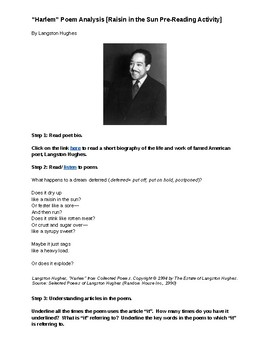 """Harlem"" Langston Hughes Poem Analysis (Raisin in the Sun Pre-Reading Activity)"
