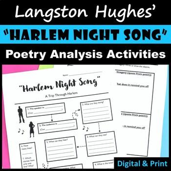 """""""Harlem Night Song"""" - Langston Hughes Poem Activities"""