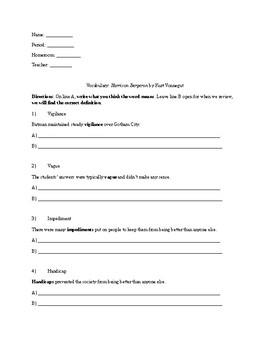 """""""Harrison Bergeron"""" Activity Guide and Packet"""