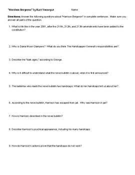 """""""Harrison Bergeron"""" Analysis Questions and Answer Key"""