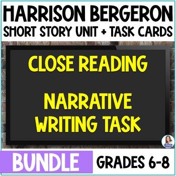 """Harrison Bergeron"" Bundle- Close Reading & Narrative Writing with Task Cards"