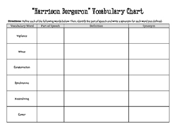 """Harrison Bergeron"" Vocabulary Chart"