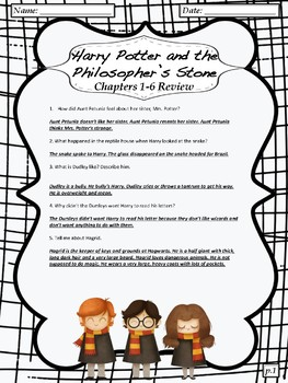 """""""Harry Potter and the Philosopher's Stone"""" Chapter Review Sheets"""