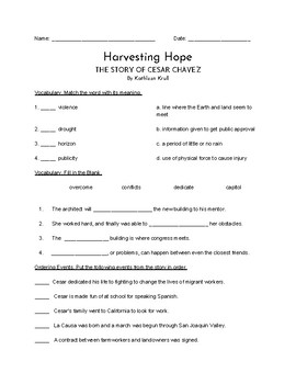 """Harvesting Hope"" QUIZ (Journeys Grade Four Reader)"