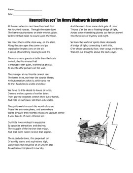 """""""Haunted Houses"""" by Henry Wadsworth Longfellow Full Text and Handouts"""