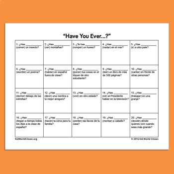 """""""Have You Ever..."""" Scavenger Hunt in Spanish for Conversation Practice"""