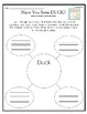 """""""Have You Seen Duck?"""" Activities for Reading, Writing, & Comprehension"""