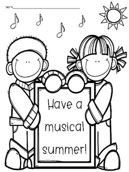 """Have a Musical Summer"" - Coloring & Writing Page"