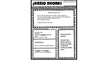 ¡Hazlo Ahora! packet 7 (Daily Warm up for Bilingual Students)