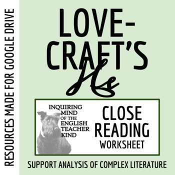 """""""He"""" by H.P. Lovecraft Close Reading Questions with Text"""