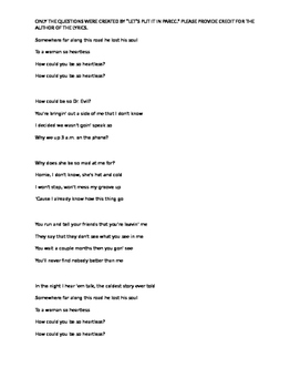 """Heartless"" by Kanye West- Questions- Tone, Figurative Language"