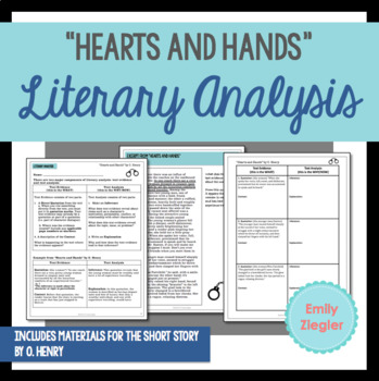 """""""Hearts and Hands"""" by O. Henry Literary Analysis Graphic Organizers"""