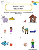 """Heavier than"" Weight Measurement Worksheet"