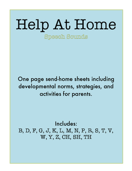 """""""Help At Home"""" One-Page Practice Sheets for LOTS of Speech Sounds!"""
