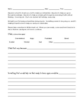 """Help me Help You"" Classroom Management Tool for Addressing Disruptive Students"