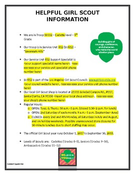 """""""Helpful Girl Scout Information"""" - Info page for Troop binders & Parent Packets"""