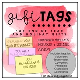 End of the Year/Holiday Tags for Multiple Gift Ideas