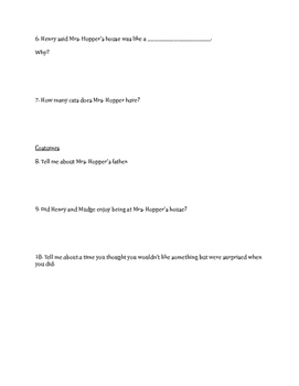 """""""Henry and Mudge and Mrs. Hopper's House"""" Comprehension Questions"""