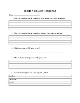 """Hidden Figures"" Student Response Worksheet"