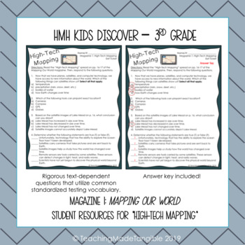 """HMH Kids Discover 3rd Grade l """"High-Tech Mapping"""" Student Resource"""