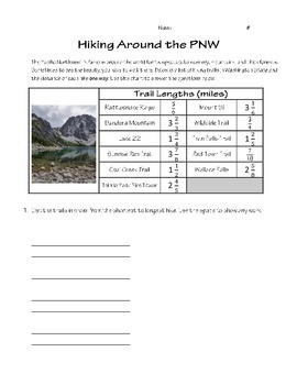 """Hiking Around the Pacific Northwest"" - A Common Core Math Performance Task"