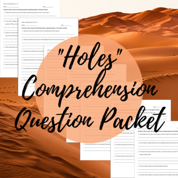 """""""Holes"""" Comprehension Question Packet - Study Skill Building!"""