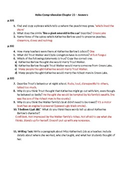 'Holes' Comprehension Questions & Answers - Chapter 23