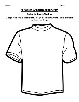"""Holes"" by Louis Sachar T-Shirt Design Worksheet"