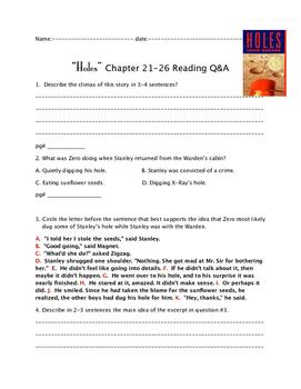 """""""Holes"""" ch.21-26 Q&A"""