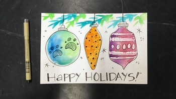 """Holiday Greetings"" Watercolor"