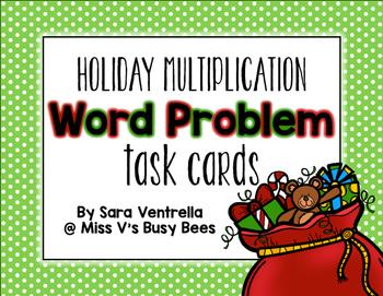 {Holiday} Multiplication Word Problem Task Cards