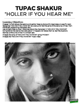 """""""Holler If You Hear Me"""" Tupac Close Reading"""