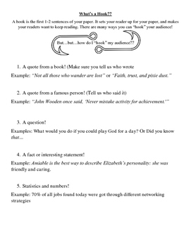 """Hook"" Guidelines and Examples for Essays and Papers"