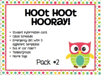 """Hoot Hoot Huray!"" Back to School Pack #2"