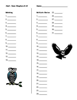 """""""Hoot"""" Quick Chapter quizzes; printables; keys included; easy to grade"""