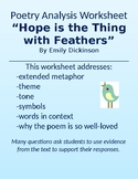 """""""Hope is the Thing with Feathers"""" Dickinson Poetry Worksheet Extended Metaphor"""