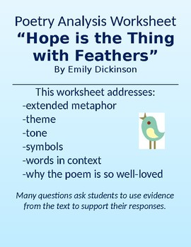 Hope Is The Thing With Feathers Dickinson Poetry Worksheet Extended Metaphor A collection of hope poems and poetry from the most famous poets and authors. hope is the thing with feathers dickinson poetry worksheet extended metaphor