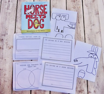 """""""Horse Meets Dog"""" Compare and Contrast Opinion Writing Craftivity"""
