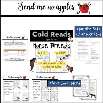 Reading Comprehension Passages and Questions BUNDLE Horses