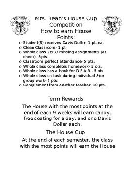 """House Points"" Classroom Management"