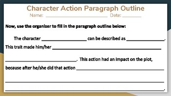 """How Characters Impact Plot Events"" - Graphic Organizer and Paragraph Outline"