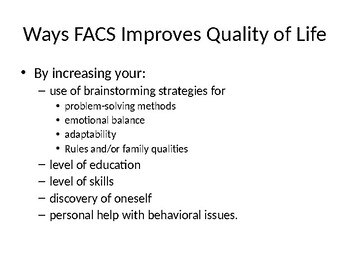 """""""How FCS Improves Quality of LIfe"""" Notes"""